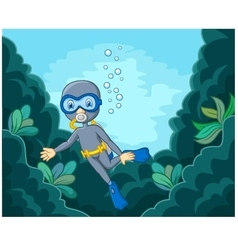 Cartoon boy diving in the sea vector image