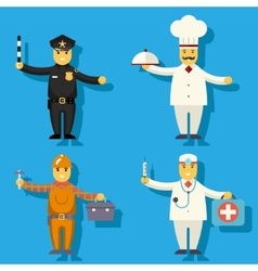 Cartoon Chief Cook Worker Repairer Police Officer vector