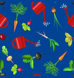 cartoon colorful fresh organic food vegetable bed vector image