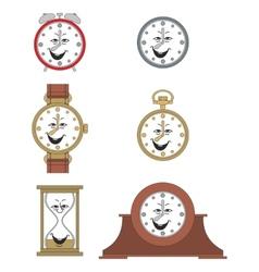 Cartoon funny clock face smiles 05 vector