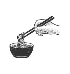 chinese noodles are eaten with chopsticks sketch vector image