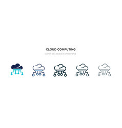 cloud computing icon in different style two vector image