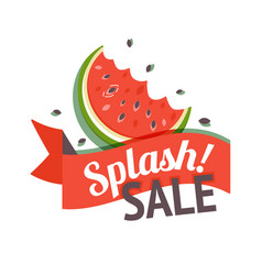 color summer sale banner with watermelon vector image