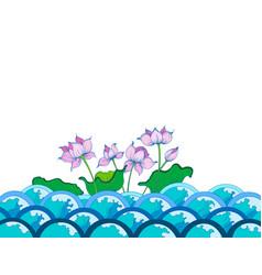 Colors lotus flowers art pattern vector