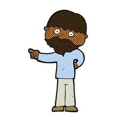 Comic cartoon bearded man pointing vector