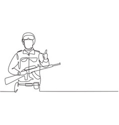 Continuous one line drawing soldiers with weapons vector