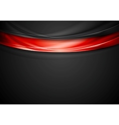 Contrast red black smooth wavy background vector image