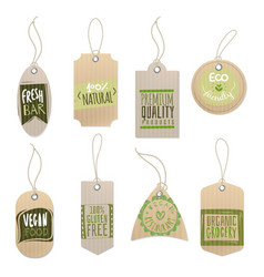 eco cardboard labels paper craft shop product vector image