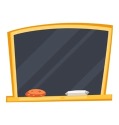 Empty black school board with sponge and chalk vector