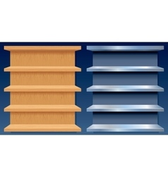 Empty Metal and Wood Shelves vector image