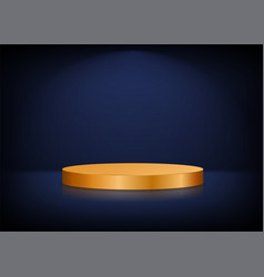 empty stage background golden round podium for vector image