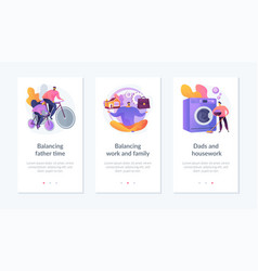 Father career and family balance mobile app ui kit vector