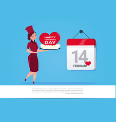 female cook holding cake for happy valentines day vector image