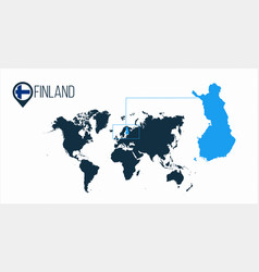 Finland location on the world map for vector