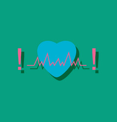 Flat icon design collection heart with cardio vector