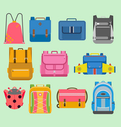 Flat school backpack kids boys and girls vector