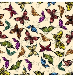 Flying tropical butterflies seamless pattern vector