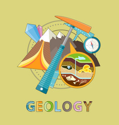 Geology emblem with pick mountain and minerals vector