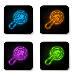 glowing neon microorganisms under magnifier icon vector image