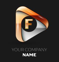 golden letter f logo in golden-silver triangle vector image