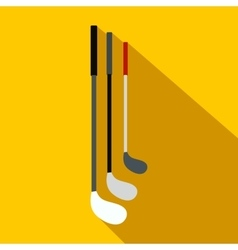 Golf clubs flat icon vector image
