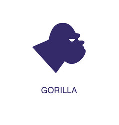 gorilla element in flat simple style on white vector image