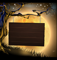 halloween tree sign background vector image