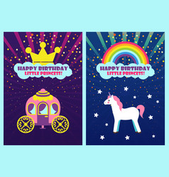 Happy birthday dear princess greeting cards set vector