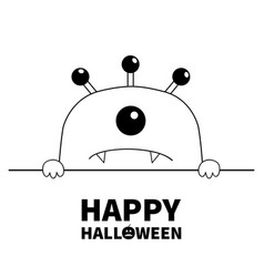 Happy halloween monster scary face head icon vector