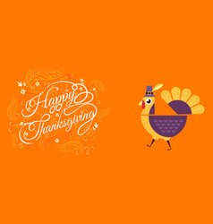 happy thanksgiving typographic cartoon character vector image