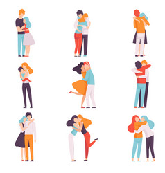 happy young male and female embracing each other vector image