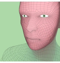 Head 3d Grid Geometric Face Design vector image