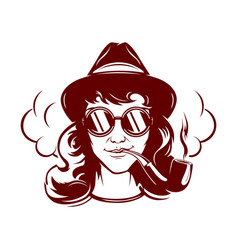 hipster female face with sun glasses smoking tube vector image