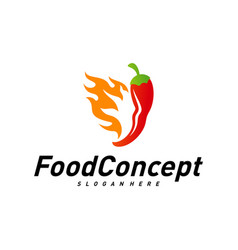 hot food logo concept red chili logo design vector image