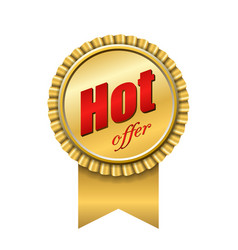 hot offer award ribbon icon gold red sign vector image