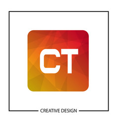 initial letter ct logo template design vector image