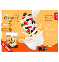 Instant oatmeal with raspberry and blackberry vector