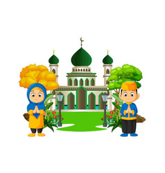 Islamic mosque with kids cartoon isolated vector