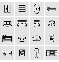 line furniture icon set vector image