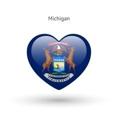 Love Michigan state symbol Heart flag icon vector image