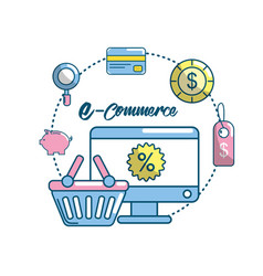 Marketing plan strategy with shopping online vector