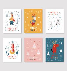 Merry christmas card collection vector