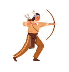 native indian american archer shooting with bow vector image