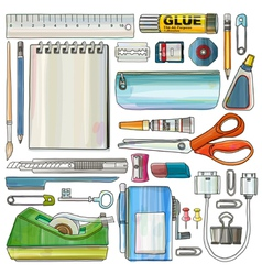 Office supplies watercolor style drawing vector
