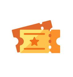 pair golden cinema tickets flat icon vector image