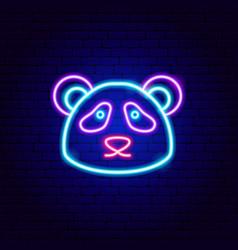 Panda neon sign vector