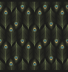 peacock feathers ornamental seamless pattern vector image