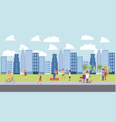 People park and city vector