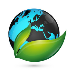 planet earth and green leaf eco vector image