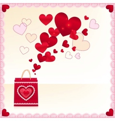 Red paper shopping bag with flying hearts vector image vector image